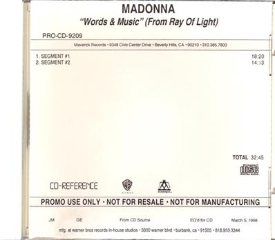 RAY OF LIGHT - WORDS & MUSIC / CDR PROMO USA