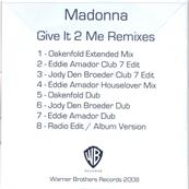 GIVE IT 2 ME / CDS 8 MIXES PROMO UK