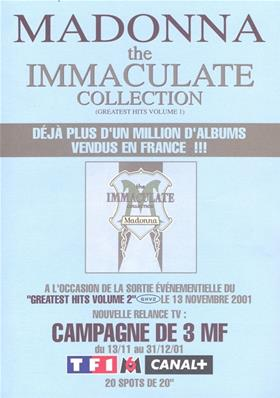 FLYER BON DE PRECO / THE IMMACULATE COLLECTION / FRANCE 2001